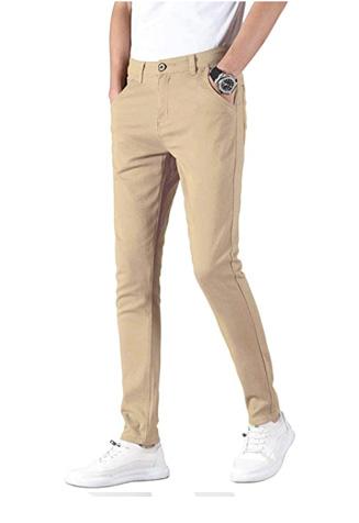 Mens-Skinny-Stretchy-Khaki-Pants