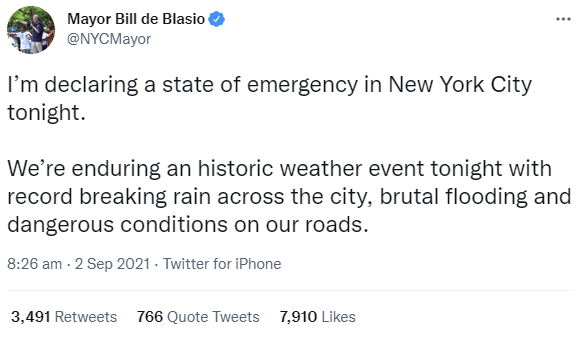 Mayor De Blasio In Declaring A State Of Emergency In NYC